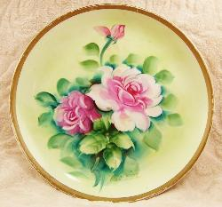 VintageTreasuresFound  - Plate Shabby Chic Rose Flower Handpainted Signed Home Decor Plate