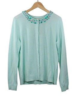 Vineyard Vines  - Wintermint Jeweled Neck Cardigan