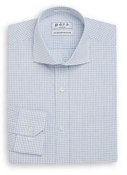 Péra  - Micro Check Two-Ply Cotton Dress Shirt