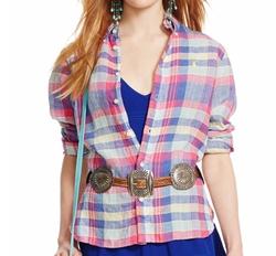 Ralph Lauren - Plaid Linen Long-Sleeve Shirt