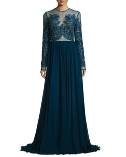 Elie Saab  - Paisley Beaded Illusion Gown