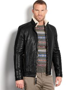 Marc New York Jacket - Nathan Rugged Lamb Leather Shearling Collar Jacket
