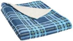 Northpoint  - Newport Rustic Plaid Rebersible Mink Fur Throw, Blue