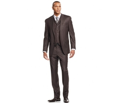 Sean John  - Olive Pindot Vested Classic-Fit Suit