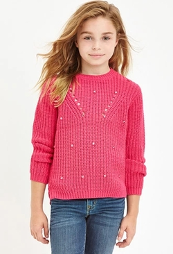 Forever 21 - Girls Beaded Purl Knit Sweater