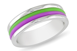 Ice - Purple and Green Stiped Band Ring