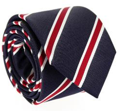 The House of Ties - Navy blue tie with red and white stripes