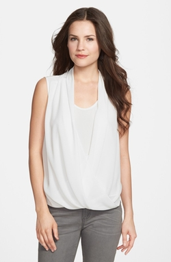 Vince Camuto  - Faux Wrap Shirttail Blouse