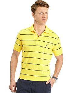 Nautica  - Striped Deck Pique Performance Polo Shirt