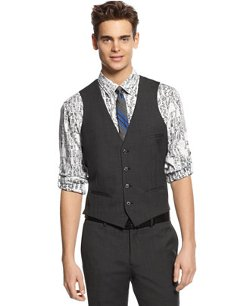 Bar III - Dark Charcoal Slim-Fit Vest
