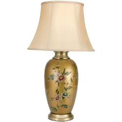 Oriental Furniture - Flowers on Pale Gold Porcelain Vase Lamp