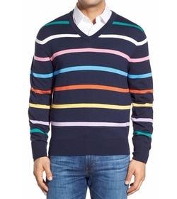 Brooks Brothers  - Stripe V-Neck Sweater