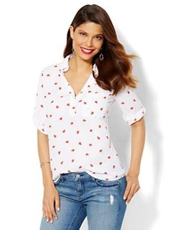 New York & Company - One Pocket Popover Ladybug Print Shirt