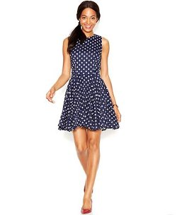Maison Jules  - Sleeveless Dot-Print Lace Flared Dress