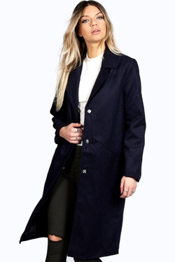 Boohoo - Aubree Longline Wool Look Coat