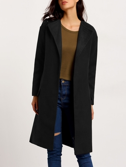 Romwe - Long Sleeve Loose Coat