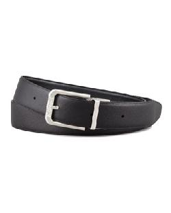 PAUL SMITH SHOES & ACCESSORIES   - BLACK PIN-UP PRINT-LINED LEATHER BELT