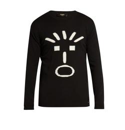 Fendi - Faces-Intarsia Crew-Neck Sweater