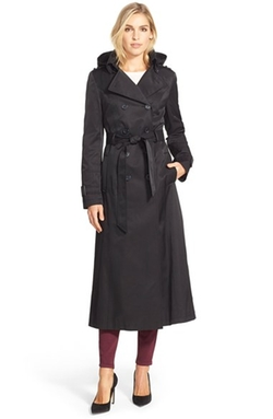 DKNY - Hooded Double Breasted Maxi Trench Coat