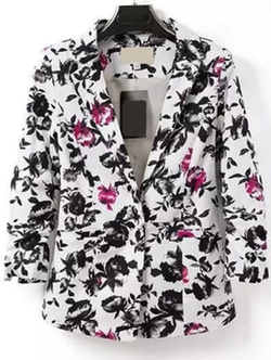 ROMWE - Notch Lapel Single Button Florals Slim Blazer