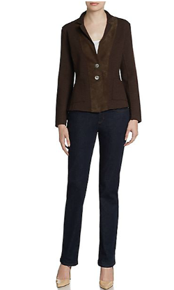 Eileen Fisher  - Suede-Trim Fitted Blazer