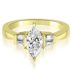 Amcor  - Marquise And Baguette 14k Yellow Gold Diamond Engagement Ring