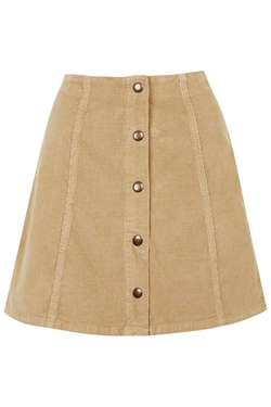 Topshop - Cord Button Front A-Line Skirt