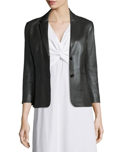 The Row - Noblan Leather Blazer, Black