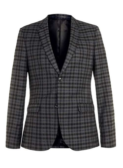 Topman - Check Skinny Fit Suit Jacket