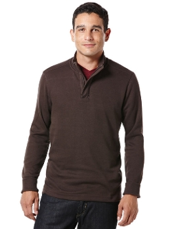 Perry Ellis - Long Sleeve Quarter Zip Ribbed Knit