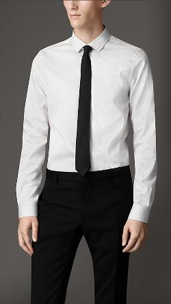 BURBERRY - Slim Fit Striped Cotton Shirt