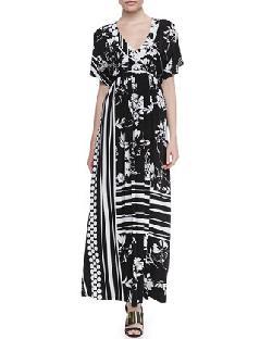 Melissa Masse  - Empire Waist Floral Print Long Dress, Women