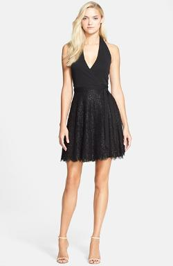Diane von Furstenberg - Amelia Metallic Lace Halter Wrap Dress