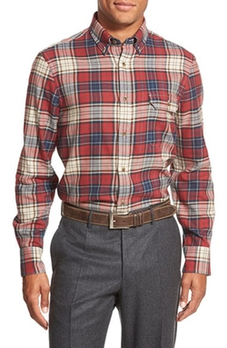 Nordstrom - Regular Fit Plaid Flannel Sport Shirt