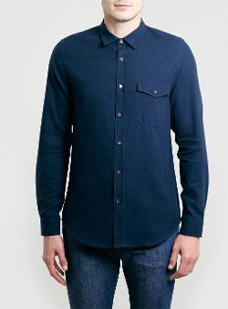 Topman - Navy Long Sleeve Shirt