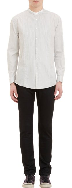John Varvatos  - Stripe Mandarin Collar Shirt