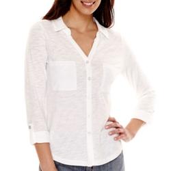 Liz Claiborne - 3/4-Sleeve Button-Front Knit Shirt
