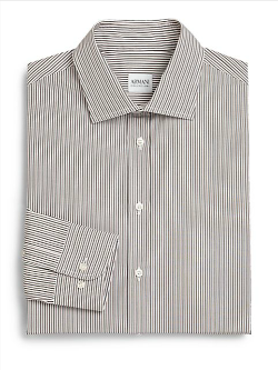 Armani Collezioni  - Deco-Striped Cotton Dress Shirt