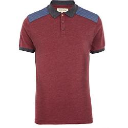 River Island - Chambray Shoulder Patch Polo Shirt