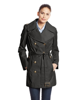 Anne Klein -  Double-Breasted Trench Coat
