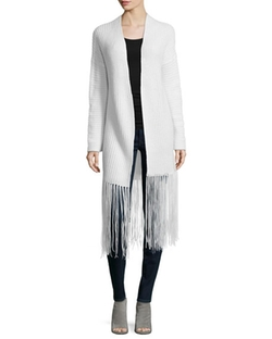 360Cashmere  - Ribbed Long Fringe Cardigan