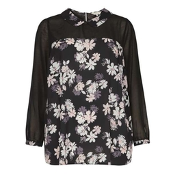 Billie & Blossom - Curve Black Floral Collar Blouse