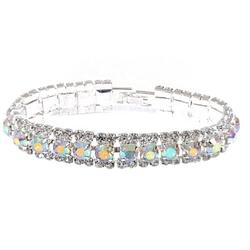 Topwholesalejewel - Aurora Borealis Rhinestone Cuff Bracelet