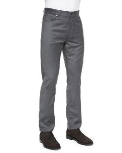 Ermenegildo Zegna   - Wool-Flannel 5-Pocket Trousers, Dark Gray