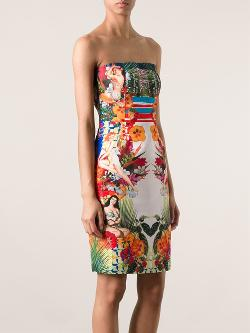 Pinko  - Mixed Print Strapless Dress