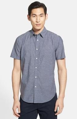Vince  - Regular Fit Short Sleeve Chambray Sport Shirt