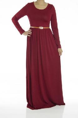 Kabayare Fashion - Burgundy Milk Silk Maxi Dress
