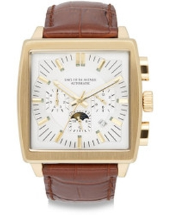 Saks Fifth Avenue - Goldtone-Finished Stainless Steel Automatic Chronograph Strap Watch