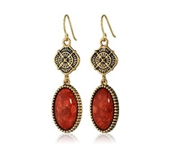Barse  - Canyon Red Sponge Coral Drop Earrings