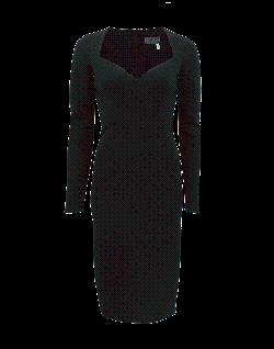 LANVIN  - Black Longsleeve Sweatheart Dress